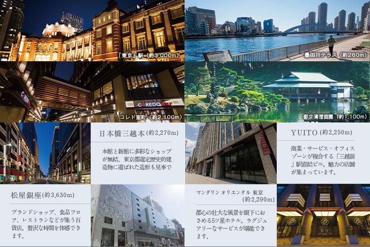 「オープンレジデンシア両国森下」が誕生するのは、「東京」駅2.3km圏の利便なポジション。最先端の都市機能が集約する日本橋エリアが隅田川の先に広がり、豊かな自然や新たな文化スポットも現地周辺に点在。都心の華やぎと潤いに包まれた地です。