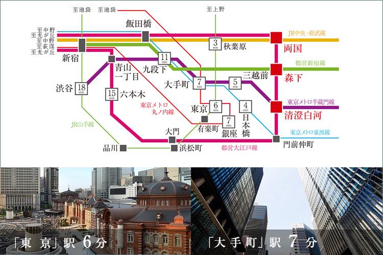 「森下」駅、「両国」駅、「清澄白河」駅が利用可能。「東京」駅へ6分、「大手町」駅へ7分など主要駅へ軽快につながり、ビジネスもプライベートも自由自在に行動できます。