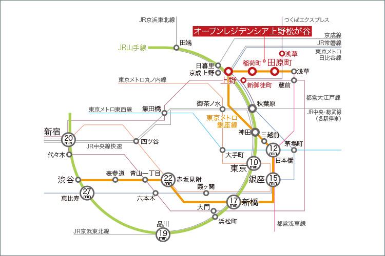 徒歩6分の東京メトロ銀座線「田原町」駅を最寄りに、新たに「上野・東京ライン」が開通したJR山手線「上野」駅やつくばエクスプレス「浅草」駅など8駅12路線※が利用できるマルチフットワーク。
