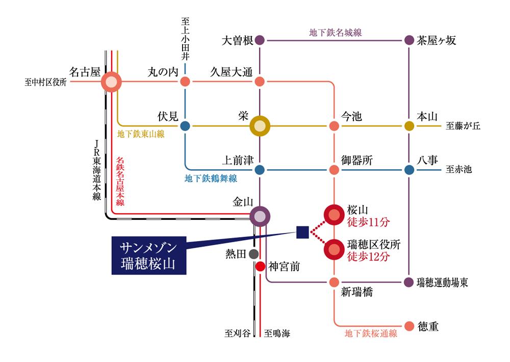 サンメゾン瑞穂桜山:交通図