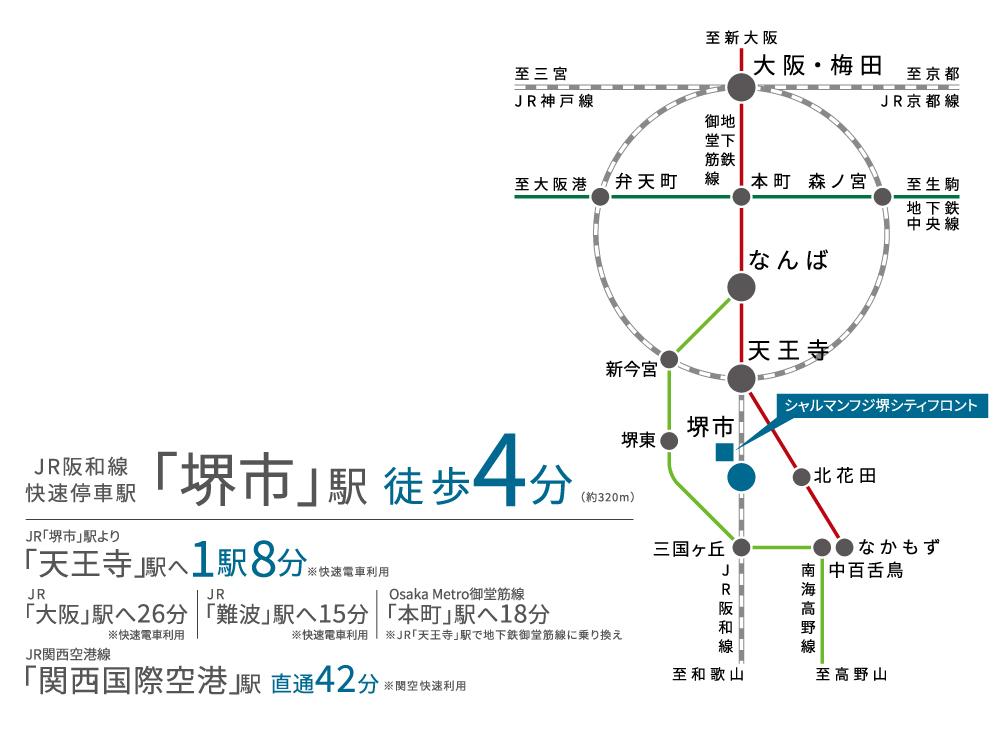 シャルマンフジ堺シティフロント:交通図
