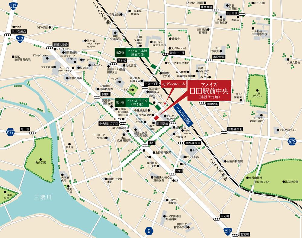 アメイズ日田駅前中央:案内図