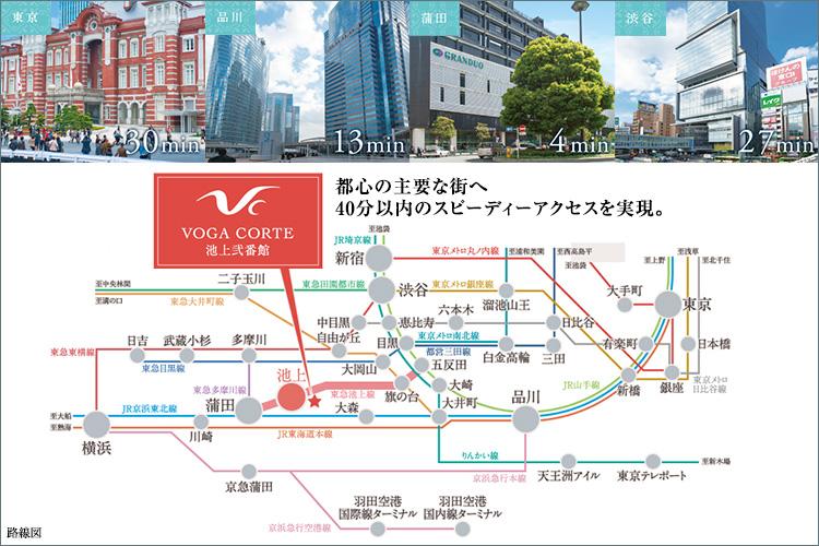 都心の主要な街へ40分以内のスピーディーアクセスを実現。
