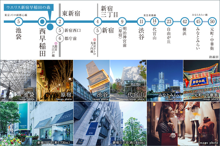 世界都市「新宿」をはじめとする自在な都心アクセスと、多彩な共用空間。想像を超えた日常がここにある。