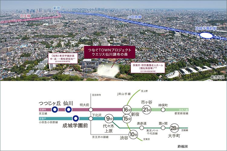 京王線「仙川」駅「つつじヶ丘」駅と小田急小田原線「成城学園前」駅の2路線3駅利用可能。
