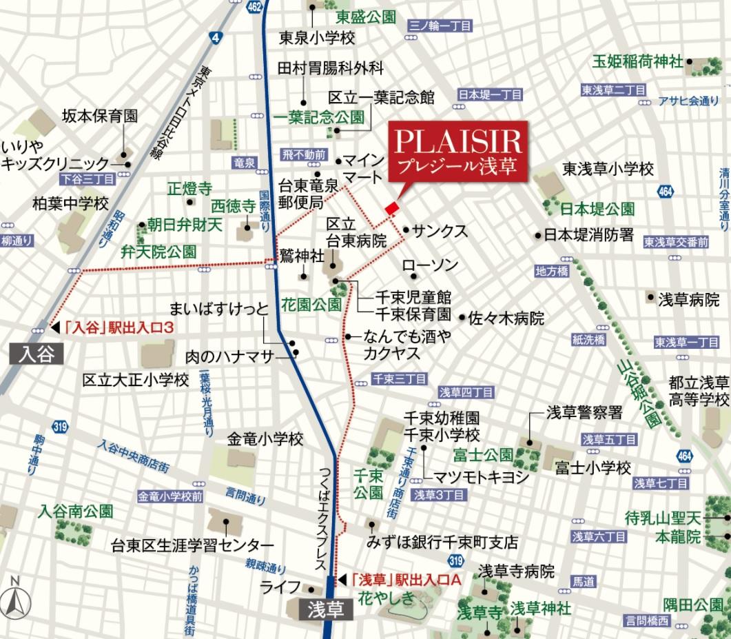 プレジール入谷:モデルルーム地図