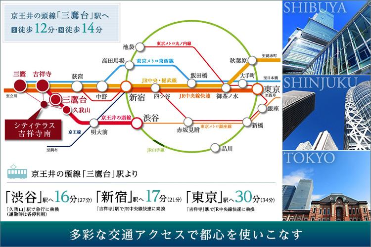 ■渋谷、新宿へ20分圏内。東京都心部へスムーズアクセス