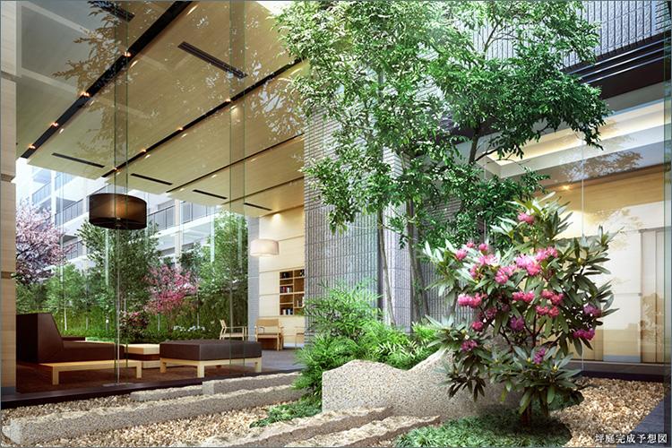 ■穏やかにもてなす坪庭空間