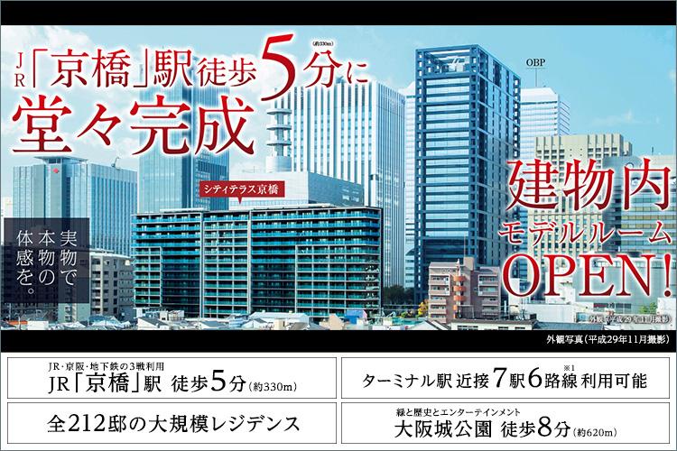 JR「京橋」駅徒歩5分。京橋の中枢に212の家族の未来を。