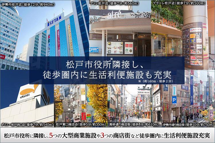 ■5つの大型商業施設や3つの商店街が徒歩圏に