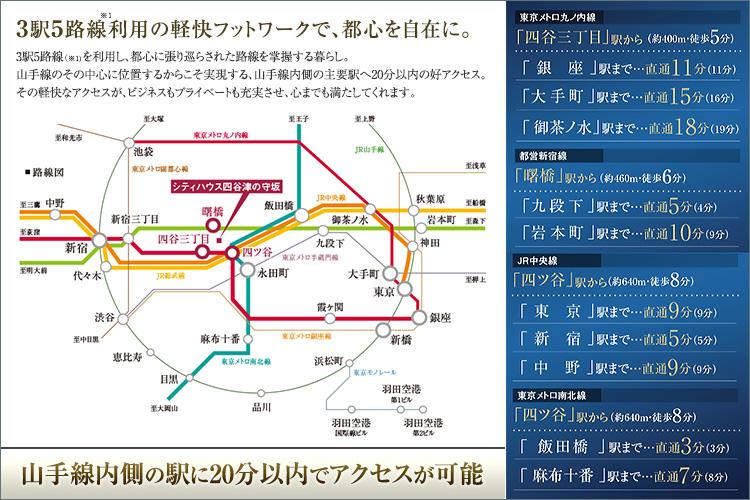 3駅5路線※1を利用し、都心に張り巡らされた路線を掌握する暮らし。