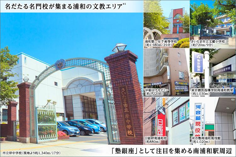 「県立浦和高校」や「浦和第一女子高校」「さいたま市立岸中学校」などの名門校が集まる文教エリアです。