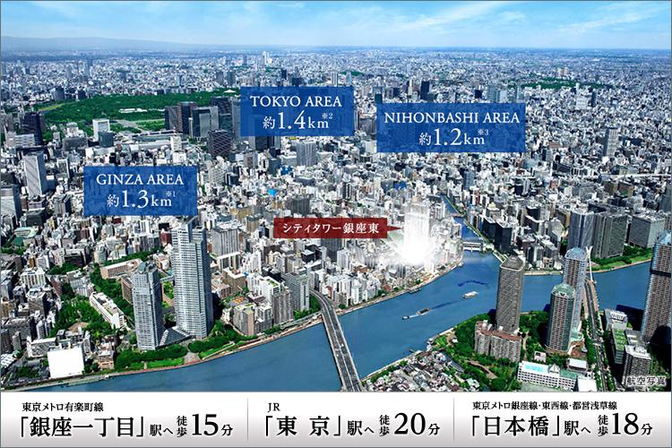 気軽に歩ける銀座、東京、日本橋には都心ならではの複数の駅が揃い、ビジネスシーンやレジャーシーンでの機動力を支える。徒歩15分に東京メトロ有楽町線「銀座一丁目」駅、徒歩20分にJR「東京」駅、徒歩18分に東京メトロ銀座線・東西線「日本橋」駅、徒歩13分に都営浅草線「宝町」駅、徒歩15分に東京メトロ銀座線「京橋」駅が点在し、目的に合わせて駅をチョイスできる。