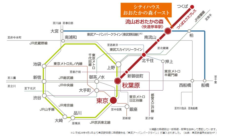シティハウスおおたかの森イースト:交通図