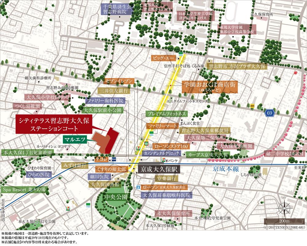 シティテラス習志野大久保ステーションコート:案内図