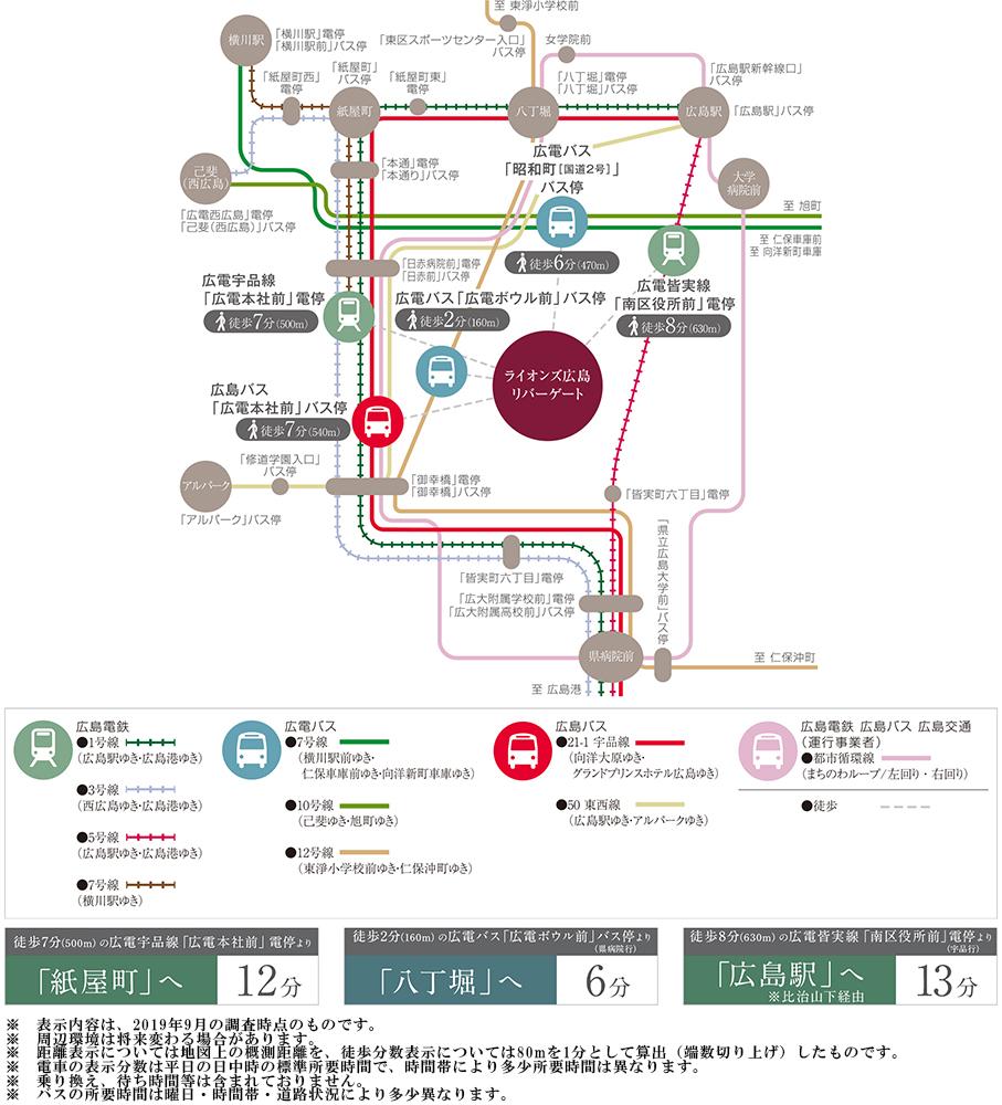 ライオンズ広島リバーゲート:交通図