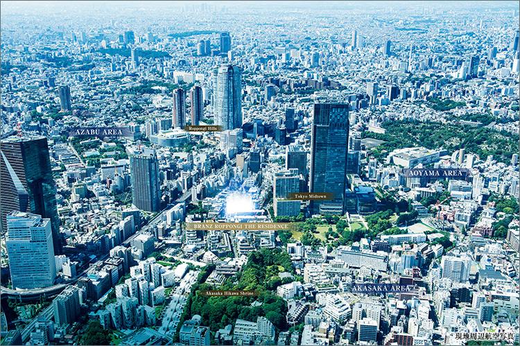 六本木通りを一本入った高台邸宅地。東京ミッドタウン徒歩2分。生活利便性も高い立地