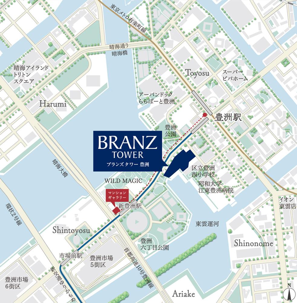 ブランズタワー豊洲:モデルルーム地図