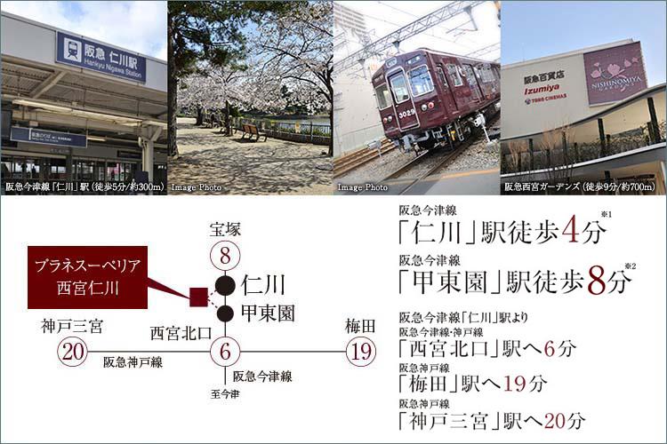 「仁川」駅徒歩4分、「甲東園」駅徒歩8分、「西宮北口」駅3駅6分。