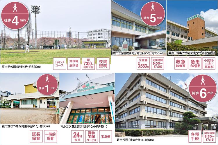 スーパー、市役所、幼稚園、保育園、大型公園が徒歩6分圏内に集う、子育てしやすいロケーション。