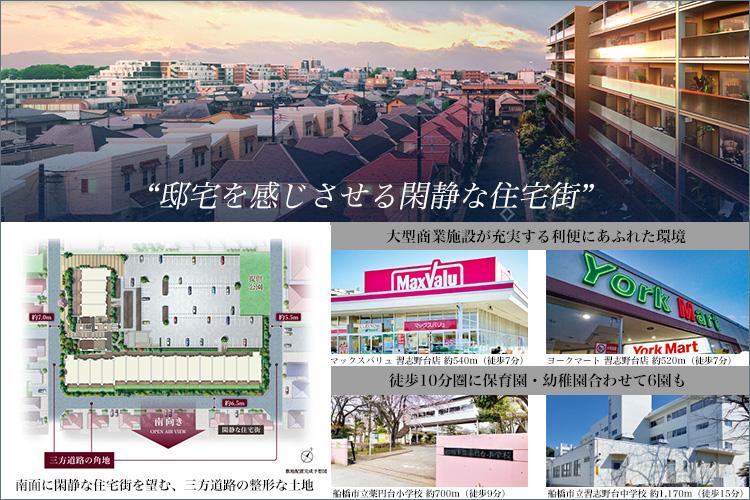 南面に閑静な住宅街を望む、三方道路の整形な土地。