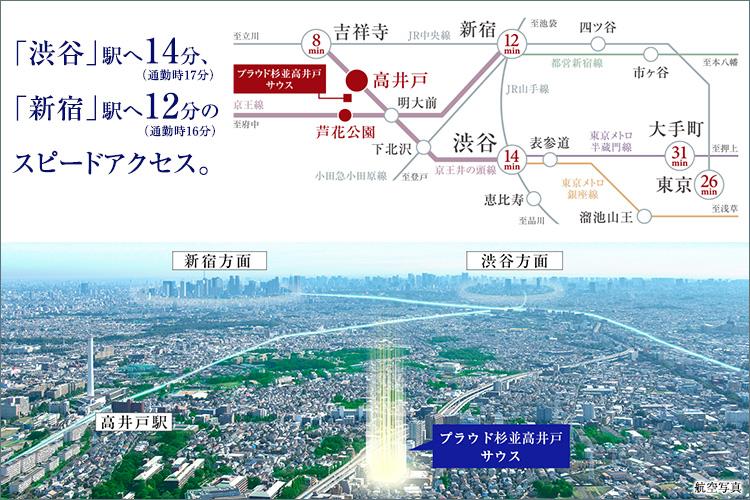 ■渋谷へ14分(通勤時17分)、新宿へ12分(通勤時16分)のスピードアクセス。
