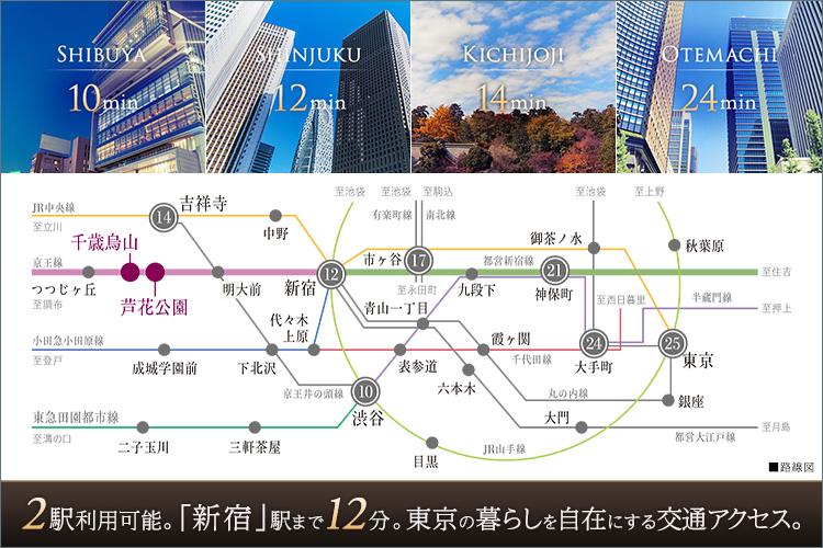 2駅利用可能。新宿まで12分。 東京の暮らしを自在にする交通アクセス。