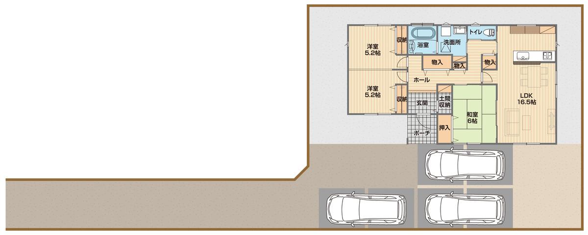 平屋3LDK+土間収納