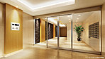 光と影の優雅な演出が印象的なエントランスホール。壁面デザインなども、素材面から上質な雰囲気を創造しています。セキュリティー対策など機能性においてもハイレベルな空間としています。