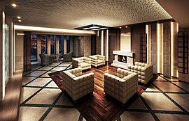 重厚かつ温かみのある素材を生かした寛ぎのエントランスホール。まるでホテルのラウンジのような、いつまでもそこにいたくなる落ち着いた空間を創出しています。
