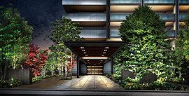 その地上15階建ての佇まいが創るのは、東川口の新たなシーン。都市の内懐にありながら喧騒とは一線を画した静域の趣がアプローチを包み、高い空へと伸びていくダブルマリオンの意匠がエリアのシンボルタワーとしての存在感を醸す。