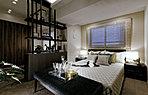 主寝室(モデルルームCタイプ(モデルルームプラン) 2018年1月撮影)シックなテイストで仕立てたホテルライクなベッドルーム。
