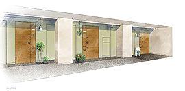 スタイリッシュな内廊下にプライベートが輝く玄関。外部からの視線を遮り、雨や雪など天候の影響を受けない内廊下。よりプライバシーを保ちやすくするため、内廊下と玄関が直接面さないアルコーブを設けました。