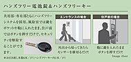 共用部・専用部ともにハンズフリーシステムを採用。風除室では鍵をポケットや鞄に入れたまま、住戸前ではボタンを押すだけで、セキュリティを解除することができます。
