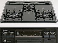 全口に立消え安全装置、天ぷら油加熱防止機能、消し忘れ防止機能などのSiセンサーを装備。熱に強いホーロートッププレートでお手入れも簡単です。