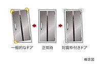 地震の際、ドア枠の変形により住戸内に閉じ込められないように、変形に対応する対震枠を採用。避難路を確保し、安全性を高めます。