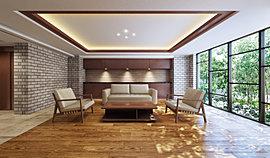 外から内への連続性が感じられるアースカラーを基調としたカラーリング。品位を感じさせる折上天井のデザイン。窓の向こうに広がる緑。くつろぎの空間を演出するスタイリッシュな家具、そのすべてが、静かに上質を伝えます。