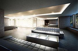 フラットラウンジは、アプローチに面した大型のガラスウォールと、自ら輝きを放つ光壁を設えた落ちつきのある空間。プレイラウンジとのコントラストが、コミュニティに豊かな表情を生み出します。