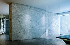 超大型のタイルを使用した、誰もが目を奪われる大壁のあるラウンジ。外からの明るい光を奥へと導き、内と外を繋げる特別な空間です。