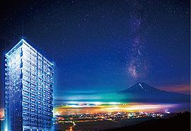 それは、都心、最高層タワー※という「優越」。その空は、まだ誰も見たことがない。富士市都心の、さらなる中心。日本最高峰を背にそびえる、市内最高層※の爽景。※2001年以降、富士市内で発売された物件に限ります。MRC調べ