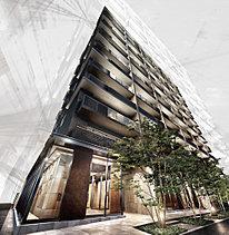 45二丁掛タイルと45角タイルによる表情豊かな外壁をベースにバルコニーガラスやアルミルーバーなどのテクスチャーをあしらい、1階コモンスペース部分をガラス張りにするなど、堂々とした重厚さの中に未来的な先進性も与えています。