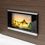 浴槽に浸かりながら楽しめる12インチの浴室テレビを標準装備。「たからのマイクロバブルトルネードO2」は浴室TVリモコンで操作できバスタイムのリラックス効果をより高めます※画像はハメコミ合成※3