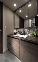 歯ブラシやヘアケア用品、化粧品などを収納できる三面鏡裏収納。圧迫感のない薄型収納。