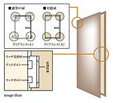 玄関には、枠とドアのクリアランスを通常より広く取った対震ドアを採用しました。これにより、地震で枠が変形しても、ドア本体への変形を防ぎ地震時でもドアを閉ざされることがないよう配慮しています。