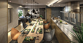 家族や友人たちとゆったりと寛ぎながら過ごせるパーティールーム。大型のキッチンを設置しているので、お料理も楽しむことが出来ます。