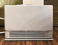 火を使わずに室内を暖めるガス温水暖房機です。水を温めてつくった温風を送り出すため、空気を汚さず部屋全体をやさしく暖めます。室内の乾燥や結露も防ぎます。