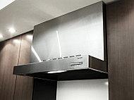 吸い込み効率の良い整流板付き壁掛け型レンジフード(参考写真)