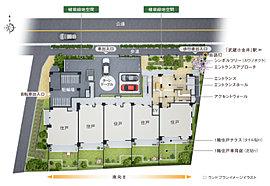 エントランスを構えた敷地北側は、駅前通りからセットバックしたゆとりのあるランドスケープデザイン。エントランスアプローチには、シンボルツリーや植栽帯からなる緑地空間を設け、緑の潤いを感じながら自然にエントランスへ導かれる設計です。
