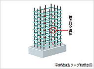 コンクリート柱の鉄筋(主筋)まわりには、継ぎ目のない溶接閉鎖型の帯筋を採用(一部を除く)。地震など、横揺れに対する柱の粘り強さを高めています