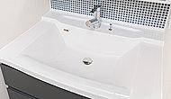 洗面化粧台のカウンタートップは、美しい人造大理石。継ぎ目がないためお掃除がしやすく、清潔に保つことができます。